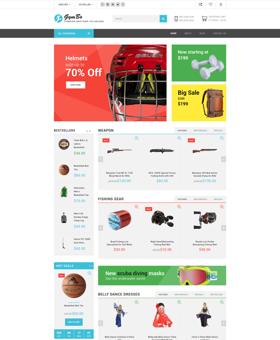 gymbo sports opencart theme