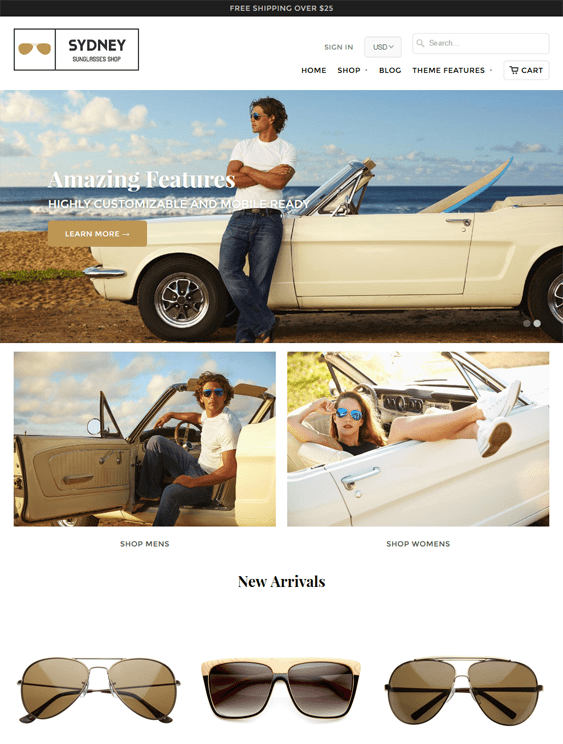 5 of the best shopify themes for sunglasses eyewear down for Mobilia wordpress theme