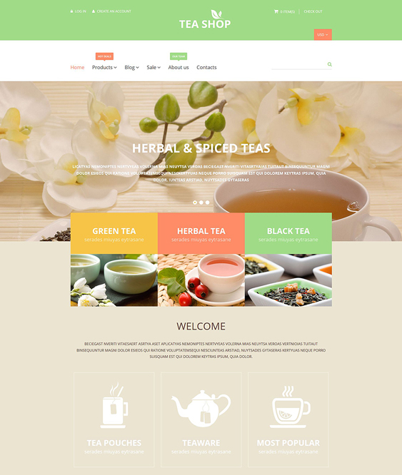 tea shop food drink shopify themes