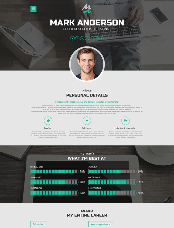 highclass resume cv wordpress themes