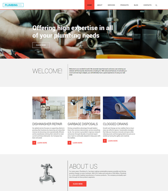 plumbing co parallax wordpress themes