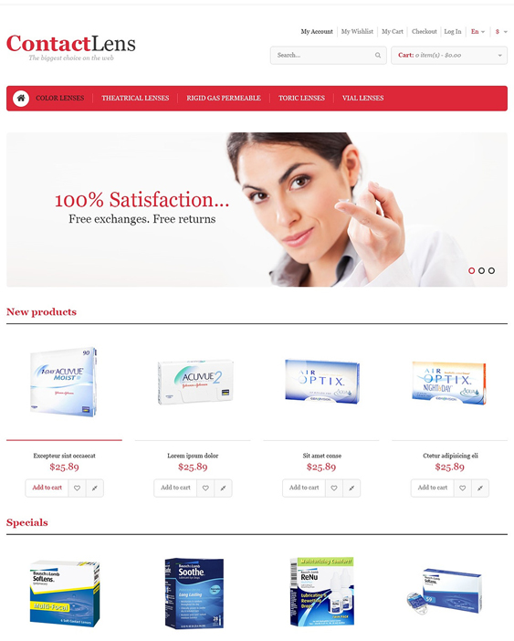 contact lens medical magento themes