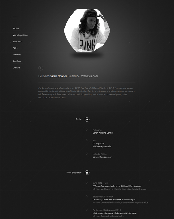 cv timeline dark wordpress themes
