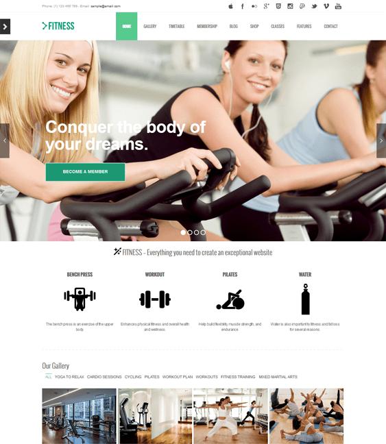 gym fitness wordpress themes