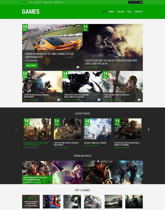 games gaming wordpress themes 2
