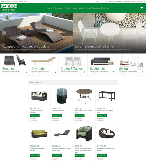 garden furniture magento themes