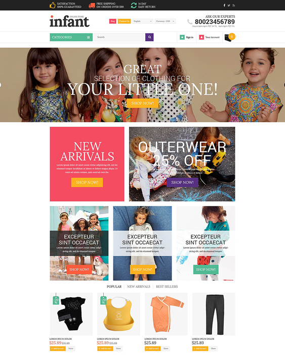 infant clothes kids prestashop themes
