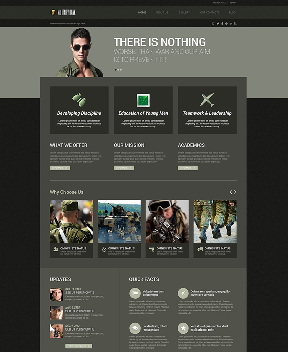military dark wordpress themes