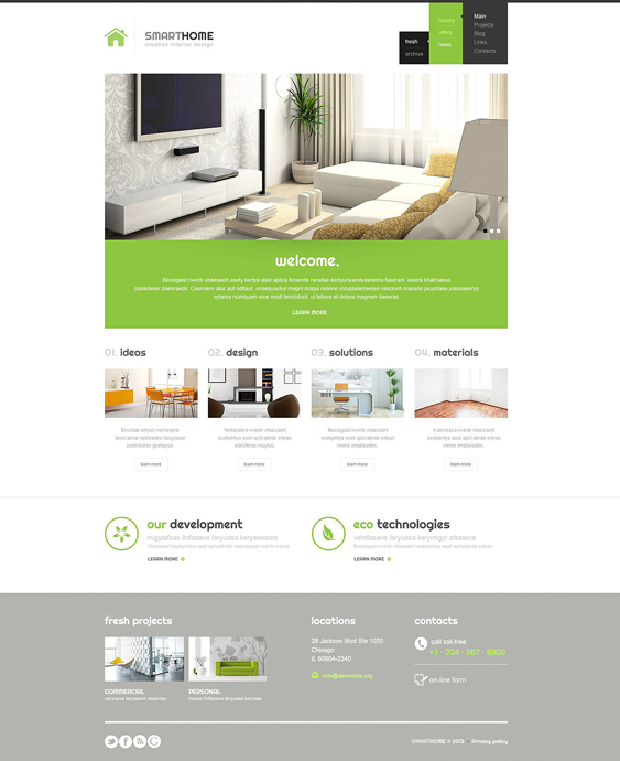 modern interior design wordpress themes