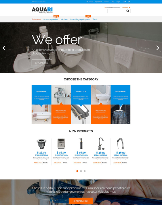 plumbing1 hardware home improvement magento themes