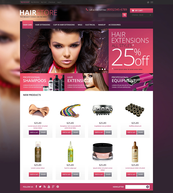 responsive hair beauty magento themes