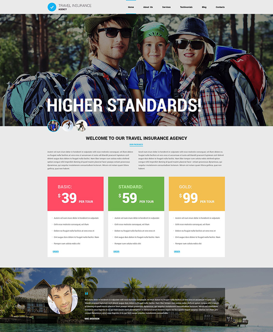 travel agency insurance joomla templates