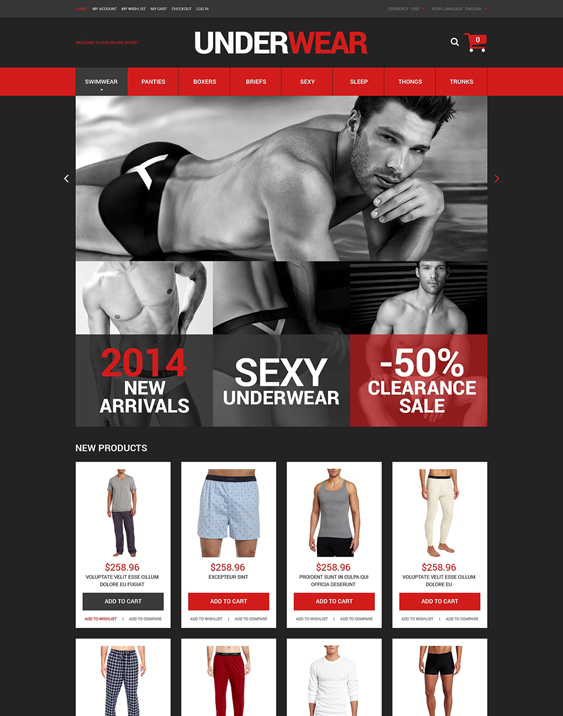 underwear dark magento themes
