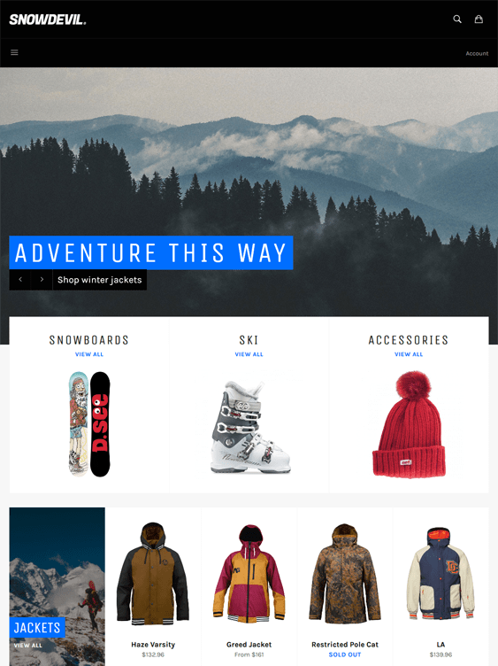venture free shopify themes outdoor goods camping equipment