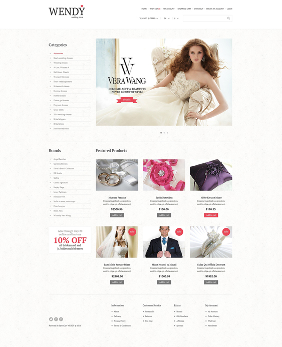 wedding opencart themes shop