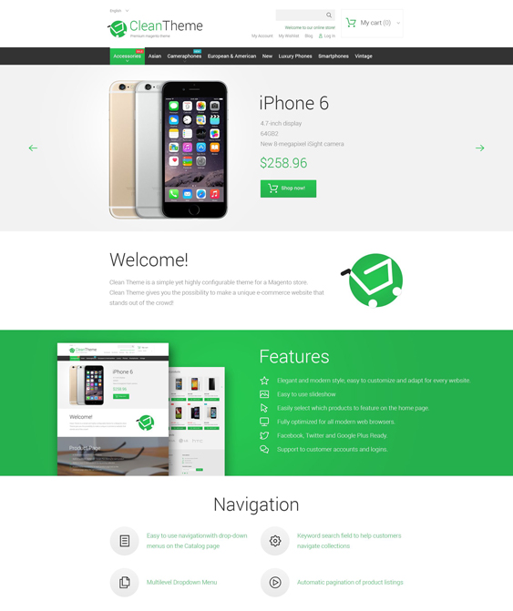 clean magento themes electronic stores