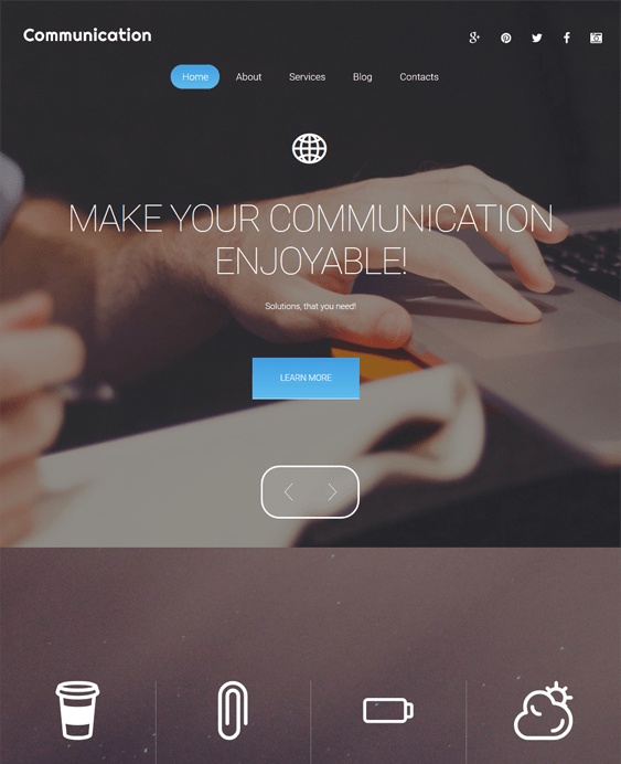 communication parallax wordpress themes