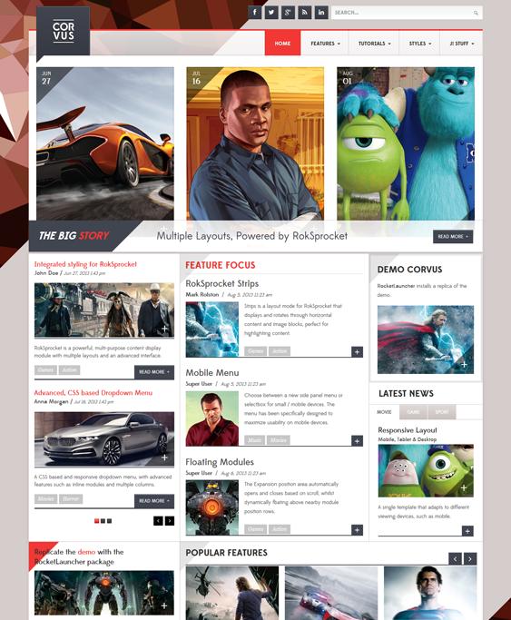 corvus news magazine joomla templates