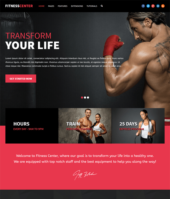 fitness gym wordpress themes center