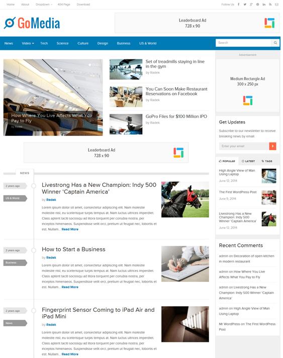 gomedia news magazine wordpress themes