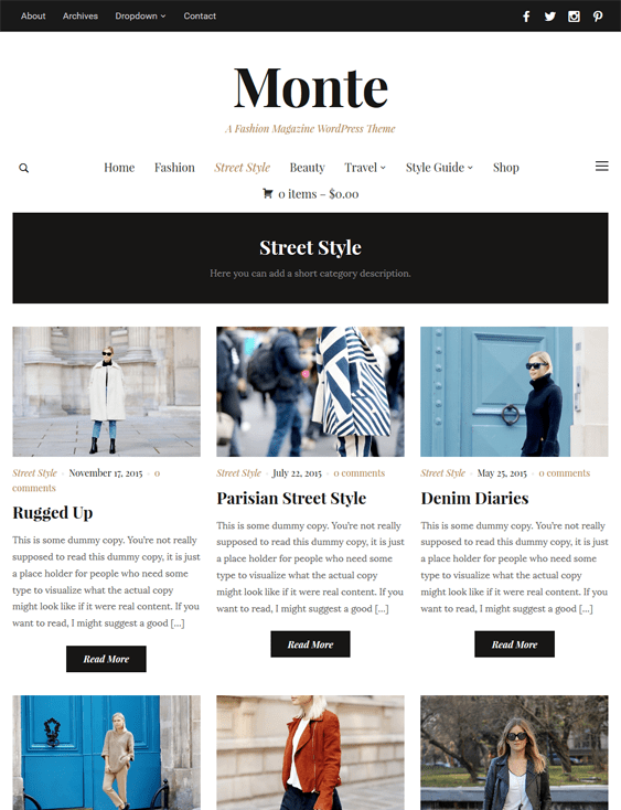 monte fashion blog wordpress themes