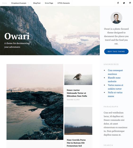 owari masonry wordpress themes