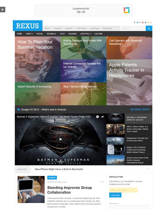 rexus news magazine wordpress themes