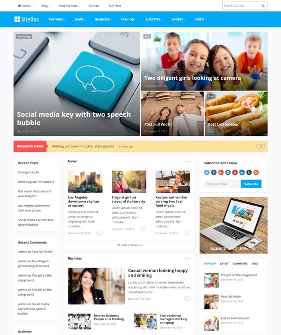 sitebox news magazine wordpress themes
