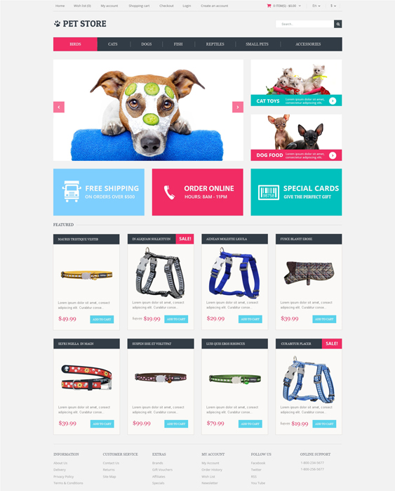animals pet opencart themes