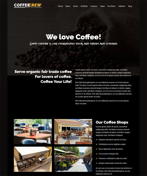 coffeecrew dark wordpress themes