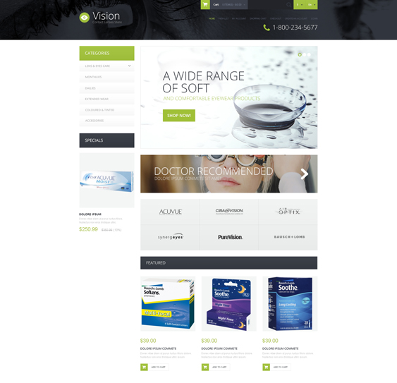 contact lens medical health opencart themes