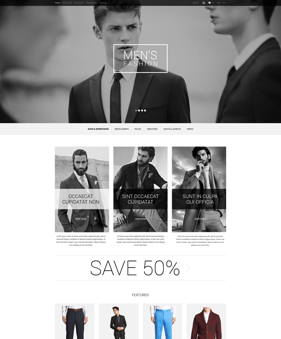 fashion minimal opencart themes