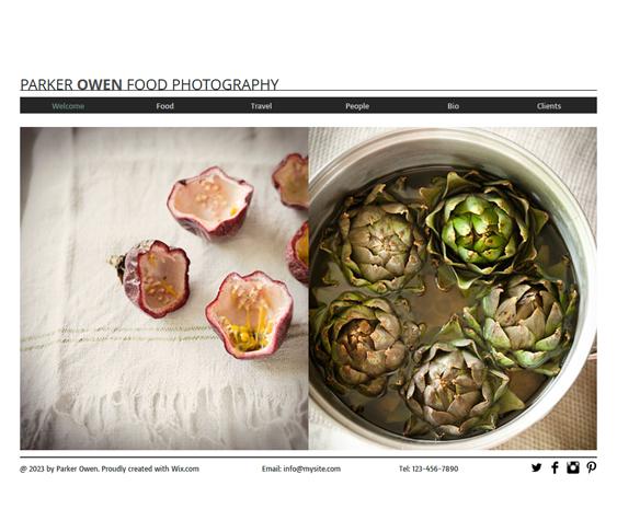 food photography portfolio wix templates
