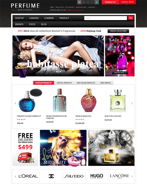 fragrance beauty products cosmetics hair care perfumes opencart themes
