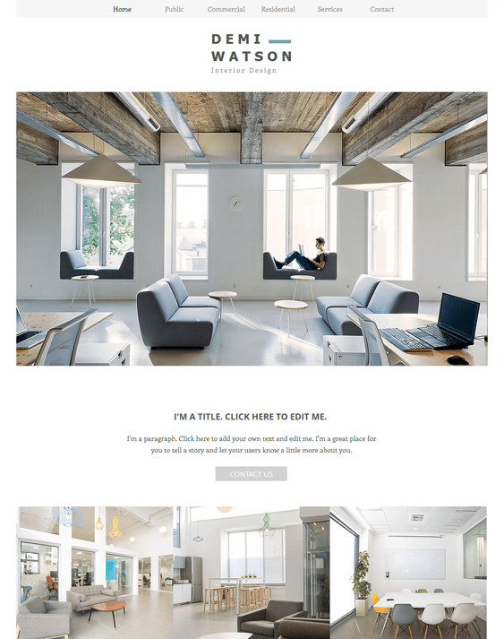 interior design portfolio wix templates