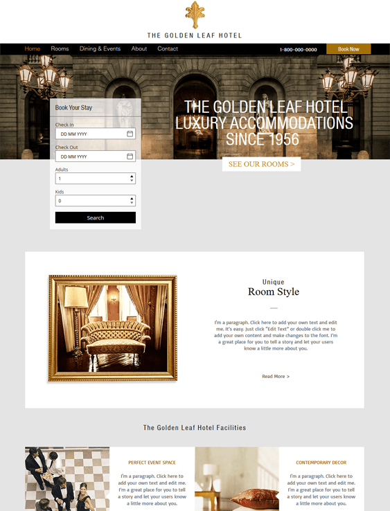 luxury free hotel wix templates