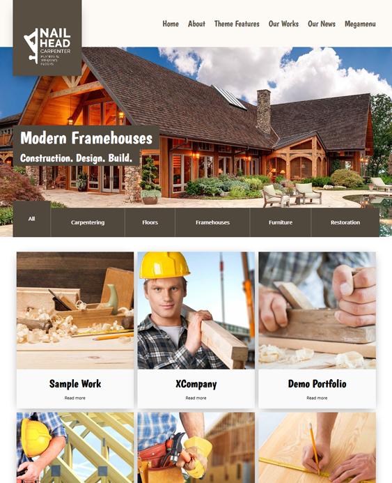 nailhead contractor construction wordpress themes