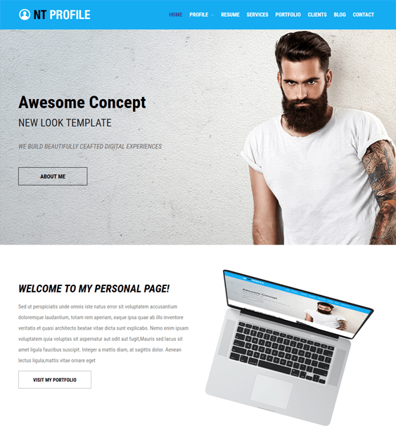 nt profile resume cv wordpress themes