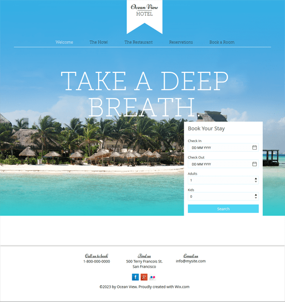 ocean view free hotel wix templates