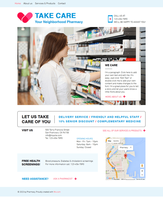 pharmacy medical wix templates