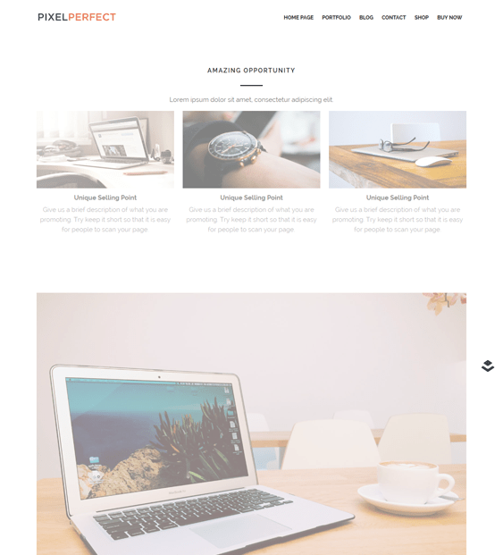 pixelperfect landing page wordpress themes