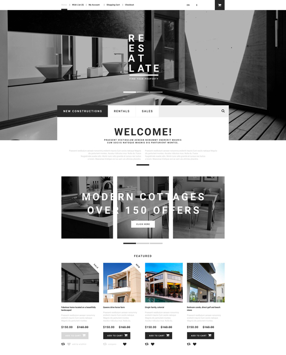 real estate minimal opencart themes