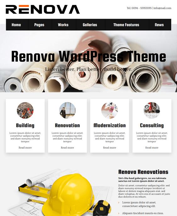 renova contractor construction wordpress themes