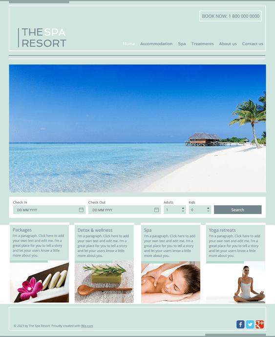spa free hotel wix templates