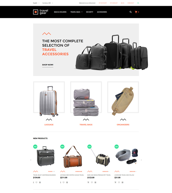 travel gear minimal magento themes