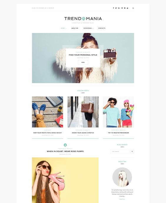 trendomania fashion blog wordpress themes