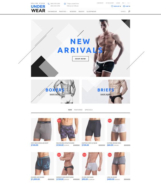 underwear minimal opencart themes