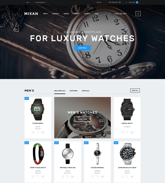 watches jewelry watch opencart themes