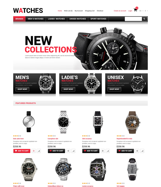 watches jewelry watch opencart themes 2