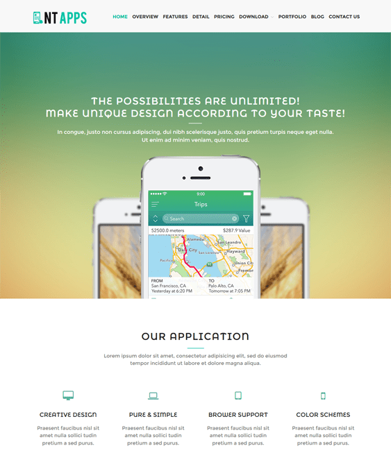 nt app wordpress themes for promoting apps